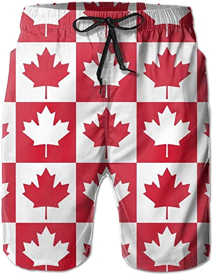 Mens Bathing Suit Canadian Flag Canada Maple Leaf Summer Vacation Beach Boardshort with Pocket