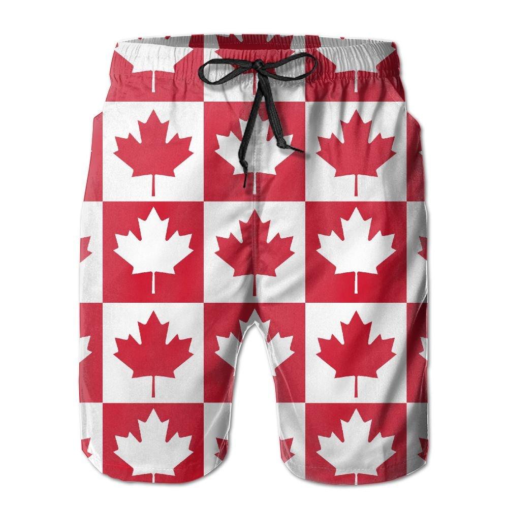 Men Maple Leaf Canada Flag Summer Quick-drying Swim Trunks Beach Shorts Thunder LL