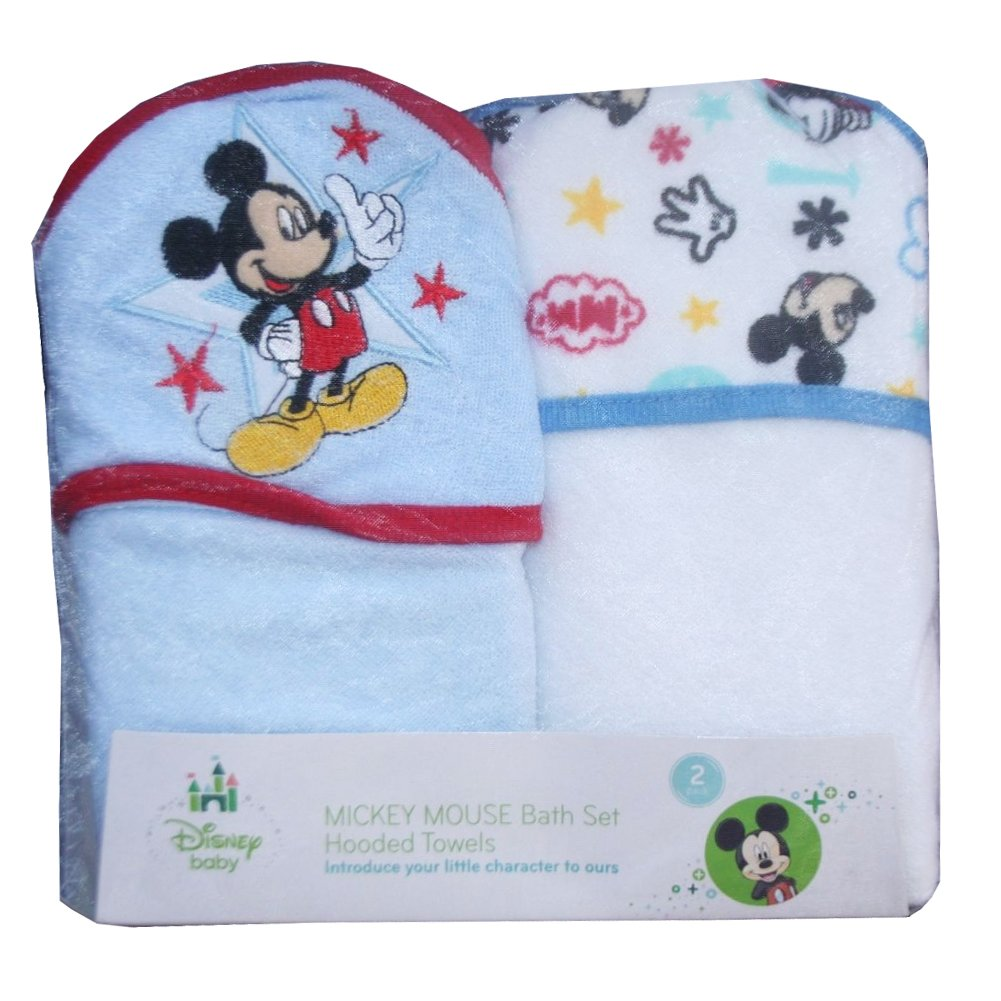 Amazon.com: Disney Baby Mickey Mouse 2 Pack Bath Set Hooded Towels Gift Set:  Health U0026 Personal Care