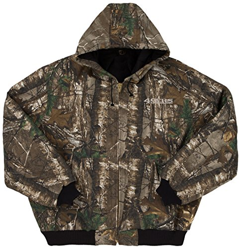NFL San Francisco 49ers The Camo Canvas Quilt Lined Hooded Jacket, Real Tree Camouflage, Large (Tree San Francisco 49ers Sports)