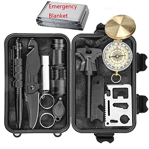 Emergency Survival Gear Kit - 11 in 1 Survival Tool EDC Camping Fishing Trekking Wild Adventure Earthquake Mountaineering Birthday Graduation Valentines Fathers Day Christmas Gift for Men Husband Dad by LongwiderTech