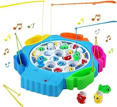 Juegos de Mesa de Pesca Musical 21pcs Peces Juguete con 6 Cañas de Pescar Juguetes Educativos para 3 4 5 Niños, Azul: Amazon.es: Juguetes y juegos