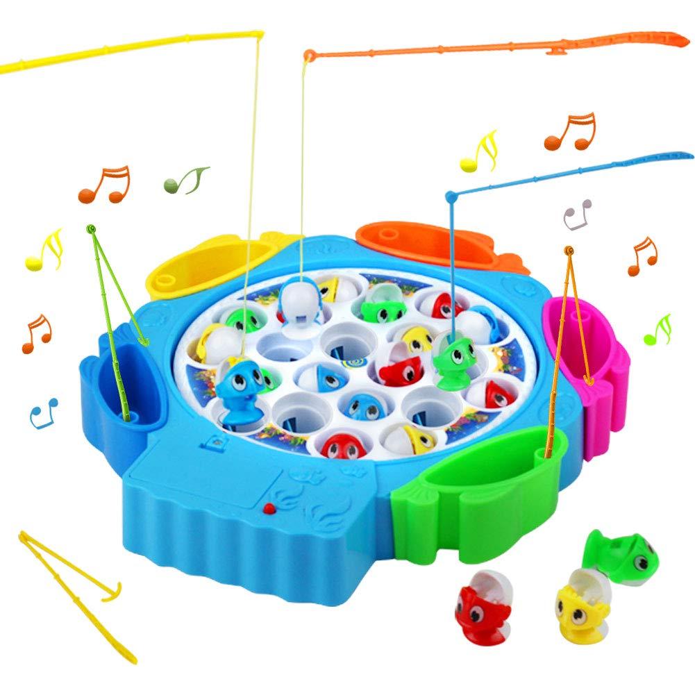 Angelspiel Fisch Kinderspielzeug Brettspiel mit 21 Fische Musik Spielzeug Angelspielzeug Pädagogisches Spielzeug Für Geschenke 3 4 5 Jahre Mädchen Junge YXING .