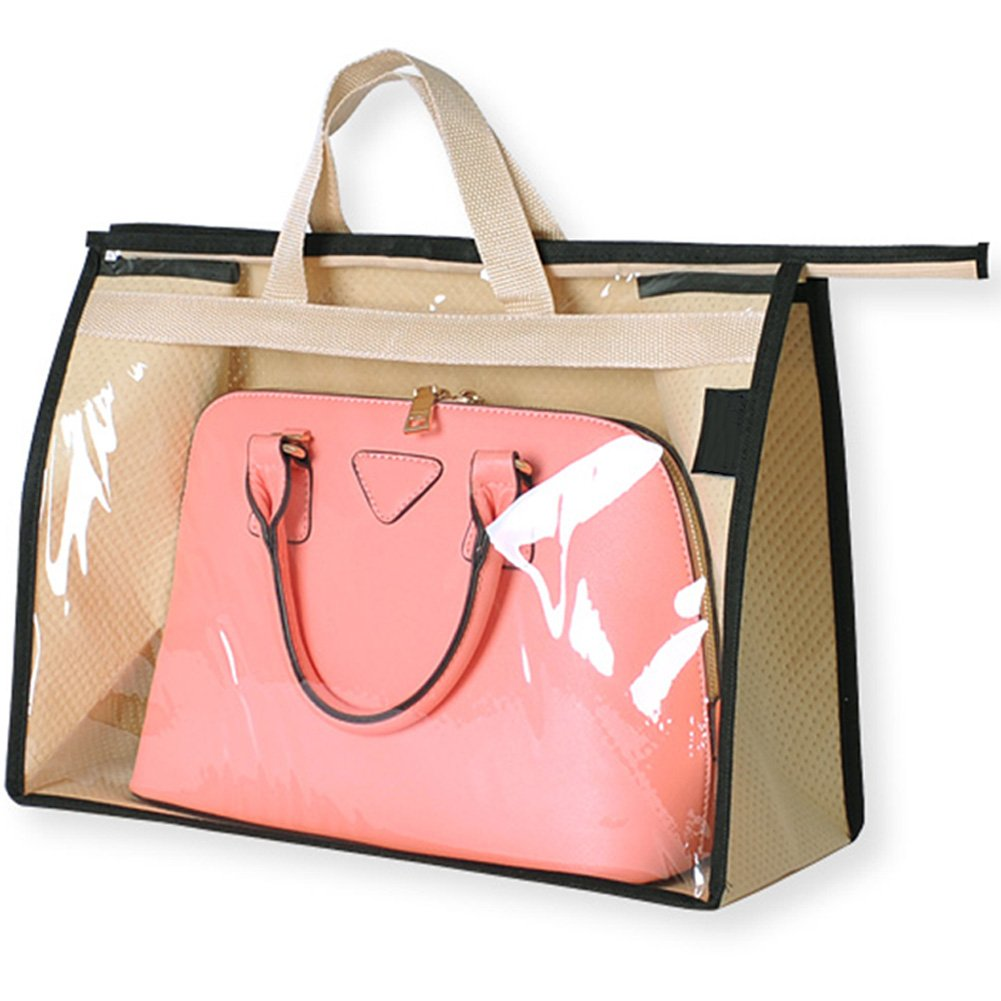 OLizee Stylish Handbags Closet Space-saving Storage Bag Organizer Purse Holder PVC Dustproof Bag with Zipper and Handle(Beige,L)