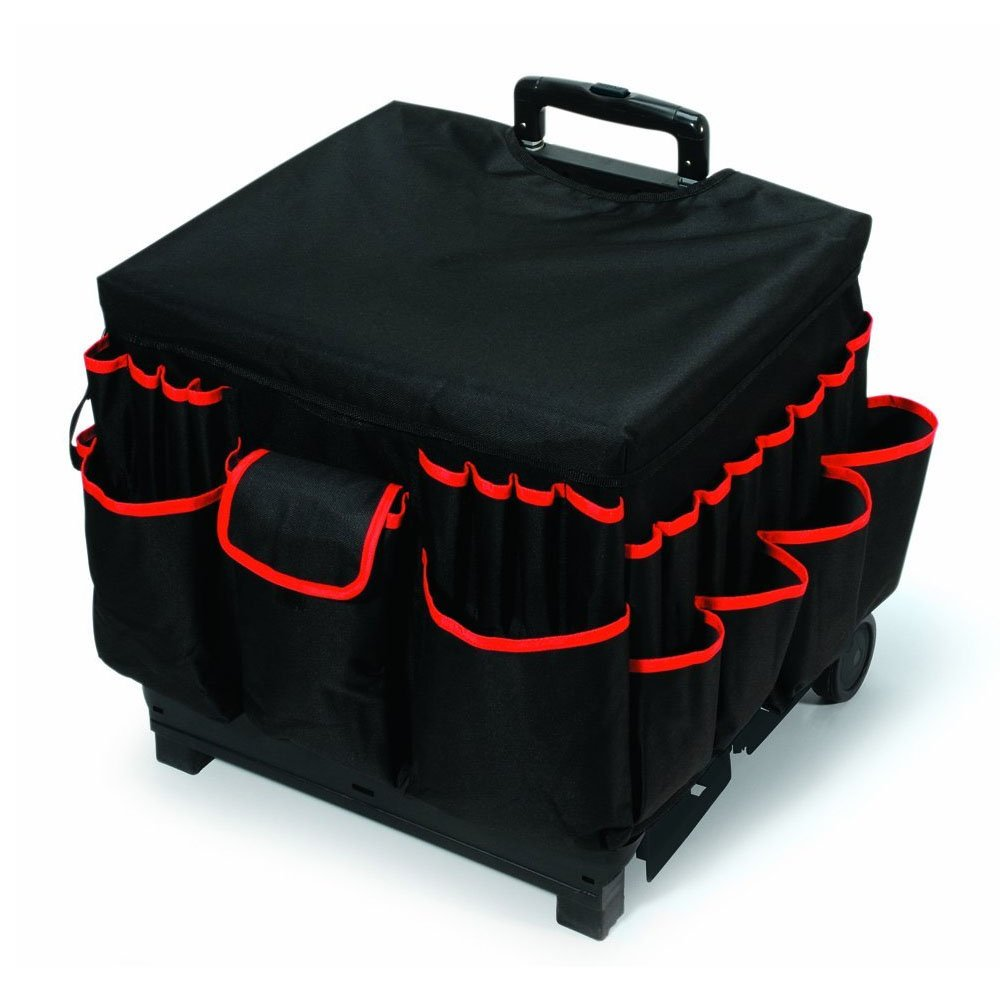 Scrapbook Rolling Bag Cart with Nylon Liner and Telescoping Aluminum Handle Handy Box-On-wheels Construction Internal Compartments and Multiple External Pockets Fully Portable Crafting Station Black