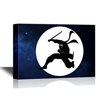 Amazon.com: wall26 - Canvas Wall Art - Ninja with a Sword ...