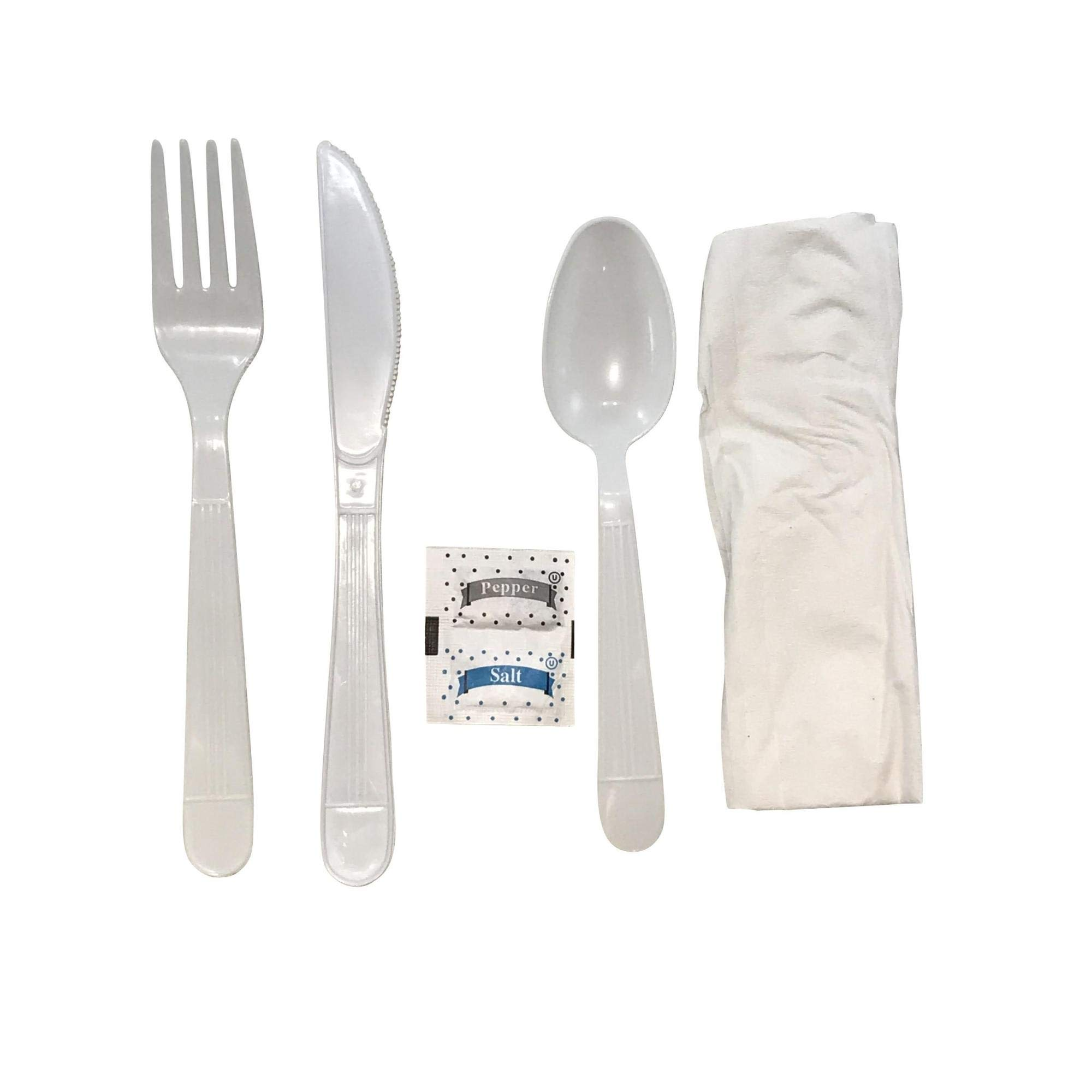 Faithful Supply 125/case Plastic Cutlery Packets Individually Wrapped | Heavy Duty White Wrapped Cutlery Kit with Fork Spoon Knife Napkin and Salt and Pepper Packets (White, 125) by Faithful Supply