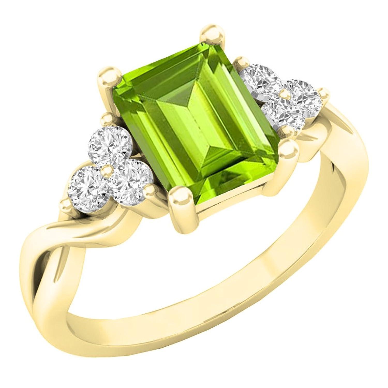 b85c46de9eef 10 K Amarillo Oro 8 x 6 mm Emerald Cut Gemstone   Round Diamante Señoras  novia