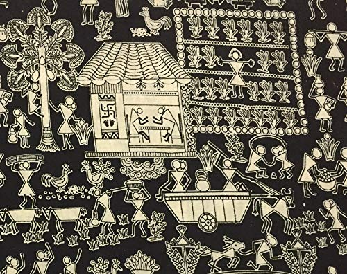 Indian Hand Printed Cotton Fabric Kalamkari Handcrafted Fabric 2.5 Yards by ()