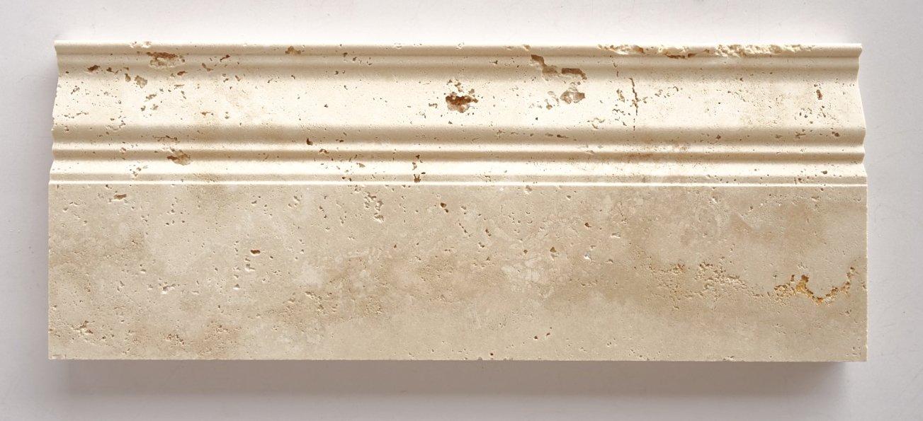 Ivory - Light Travertine Honed 5 X 12 Baseboard Trim Molding - STANDARD QUALITY - Lot of 20 Pcs.