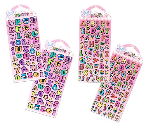 SET060-ABC - 4 Sheets (2 Different Designs) Colorful A-Z Alphabet Letters 3D Puffy Decorative Diary Album Calendar Adhesive Sticker Scrapbooking Craft For Kids School Journal