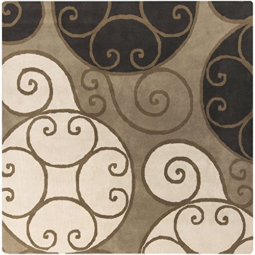 Surya Athena ATH-5111 Contemporary Hand Tufted 100% Wool Brindle 6' Square Geometric Area Rug