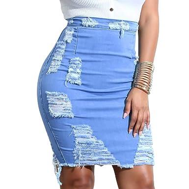 209bae394 vanberfia Women's Casual Distressed Ripped Denim Short Skirt (JS20196011,  ...