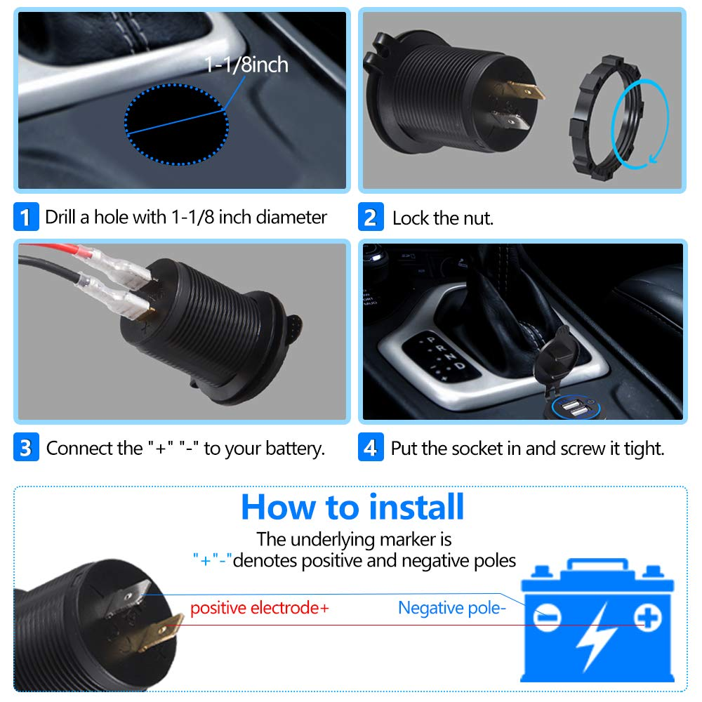 2x USB Port Socket SUV UTV Motorcycle Thlevel Dual USB Charger Socket Boats and Marine Dual 5V//4.2A USB Car Charger Power Outlet with switch for 12V//24V Car Truck