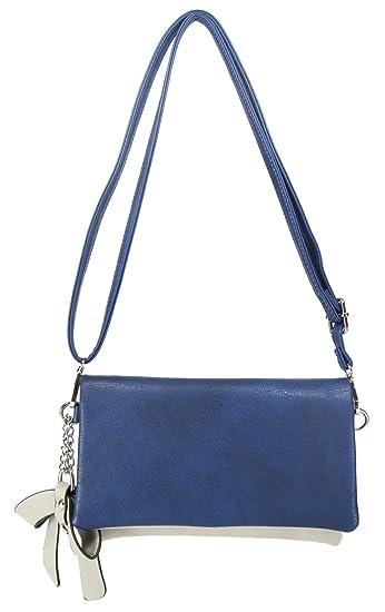 4faaa18e45f09 CASAdiNOVA Damen Handtasche Clutch Blau Grau Kleine Tasche Moderne  Umhängetasche Leder Vegan Neu 2018 Small