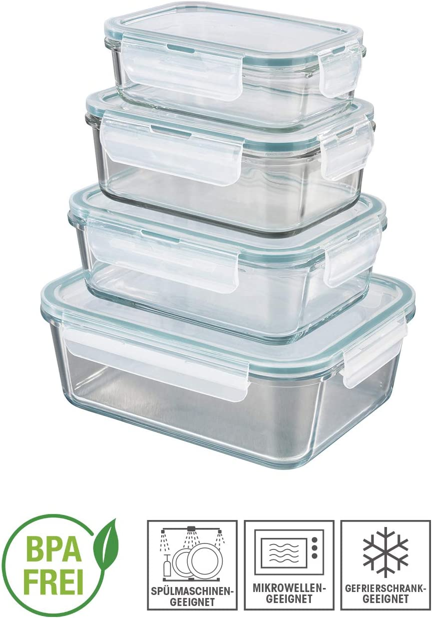 GOURMETmaxx Set de 4 contenedores de Alimentos de Vidrio, Incluyendo la Tapa | Cierre cuádruple y Sello de Silicona conservación del Aroma de la Comida: Amazon.es: Hogar