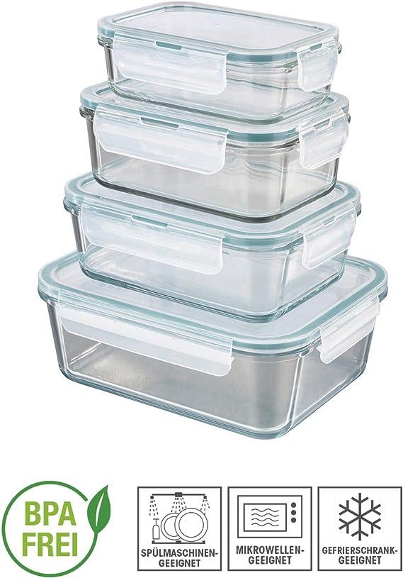 GOURMETmaxx Set di 4 contenitori per Alimenti in Vetro, Coperchio Incluso | Chiusura 4 Volte klick it e Guarnizione in Silicone | Perfetta