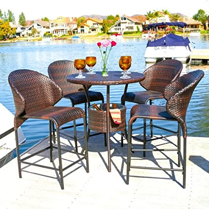 Awesome 5 Piece Bistro Set Outdoor Garden Poolside Dining Set