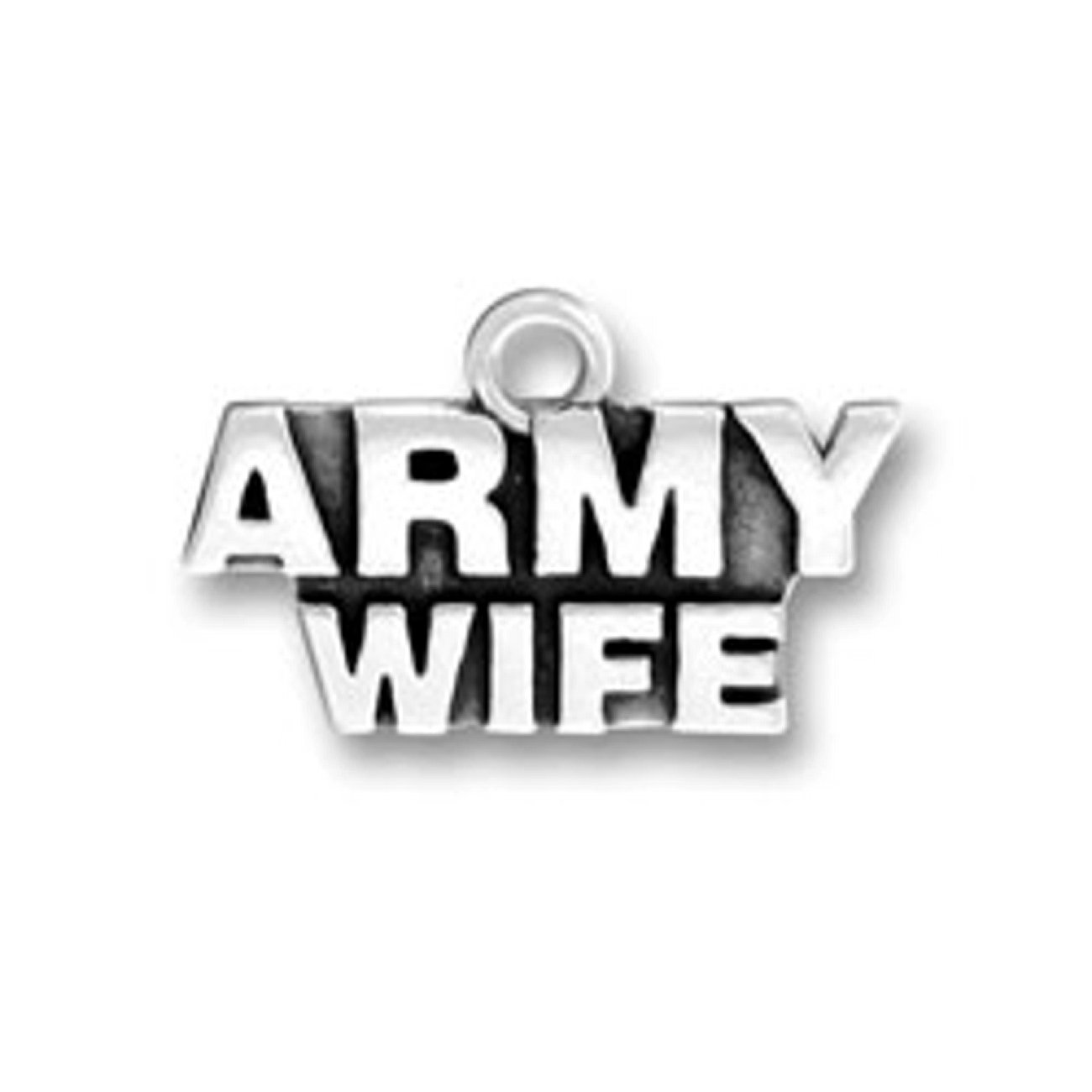 Sterling Silver Girls .8mm Box Chain ARMY WIFE Military Armed Forces Pendant Necklace