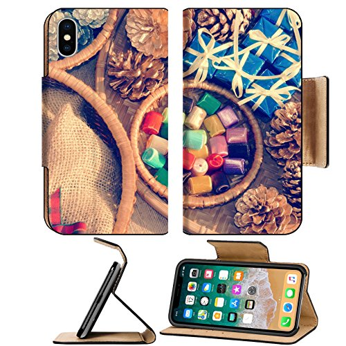 MSD Premium Apple iPhone X Flip Pu Leather Wallet Case Amazing colorful Xmas gift and pine cone in basket decoration material for christmas IMAGE 34002371