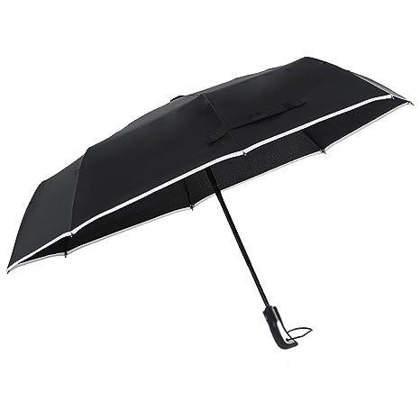 LOUISWARE Paraguas de Viaje Plegable Automático con 8 VarillasContra Viento Tela Impermeable UPF Resistente al Viento