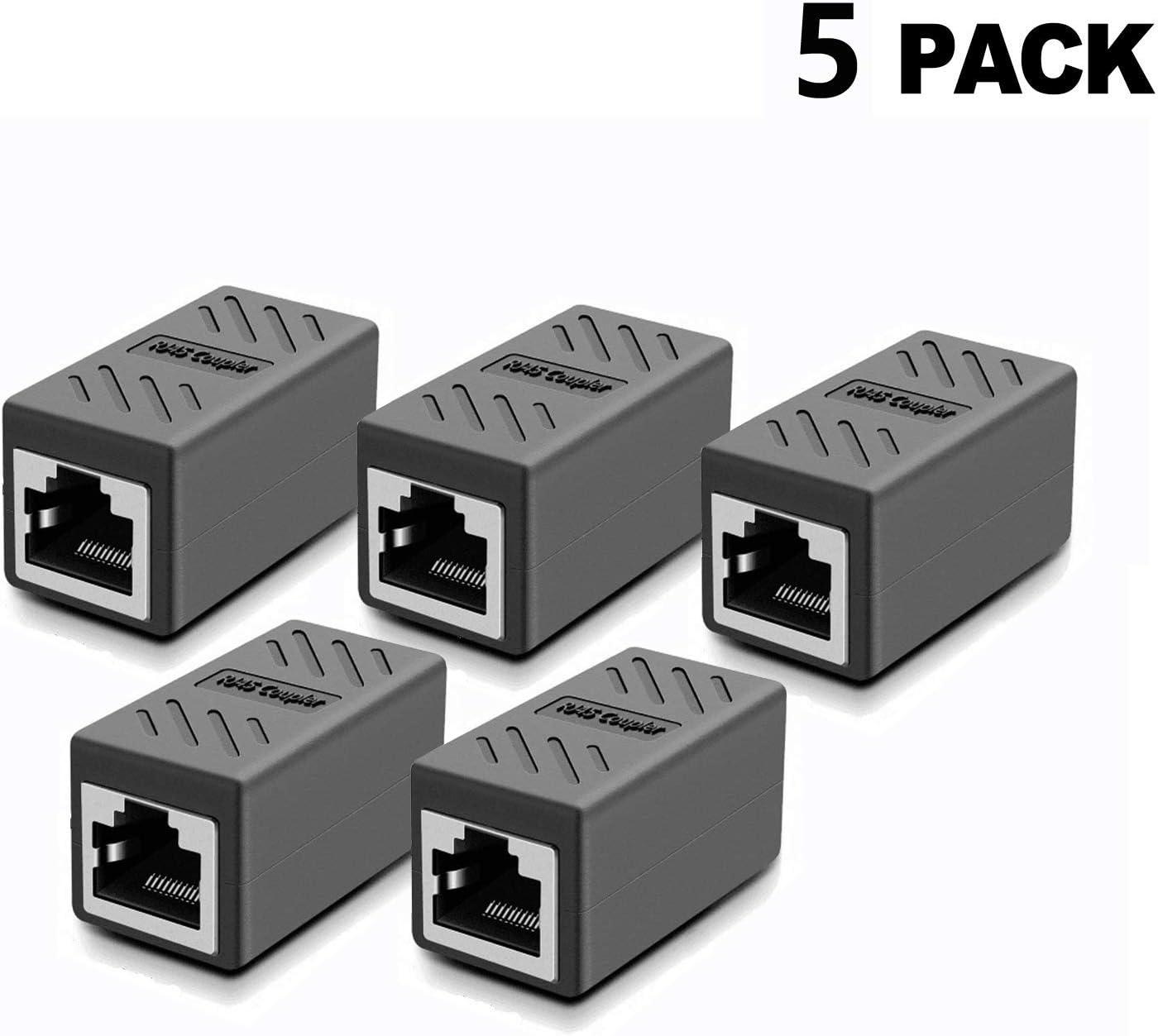 RJ45 Coupler Network Coupler Ethernet Connectors Hielded in-Line Coupler for Cat7//Cat6//Cat5e//Cat5 Female to Female Ethernet Cable Extender Connector Black-5 Pack