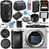 Sony Alpha a6300 Mirrorless Digital Camera (Silver) ILCE-6300/S + Sony FE 70-300mm f/4.5-5.6 G OSS Lens SEL70300G + NP-FW50 Replacement Lithium Ion Battery + External Rapid Charger Bundle