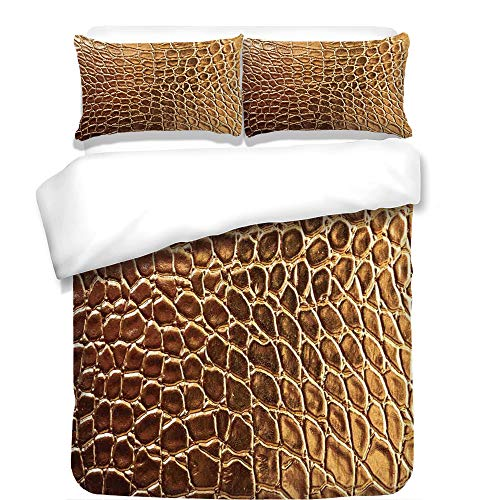 Covers Futon Animal Print - iPrint 3Pcs Duvet Cover Set,Animal Print Decor,Tint Golden Crocodile Skin Nature Life Toughness High End Design Artwork,Gold,Best Bedding Gifts for Family/Friends