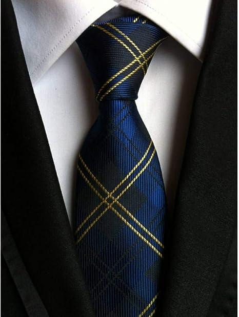 WOXHY Corbata Nuevo clásico 8 cm cheques Azul Amarillo Negro ...