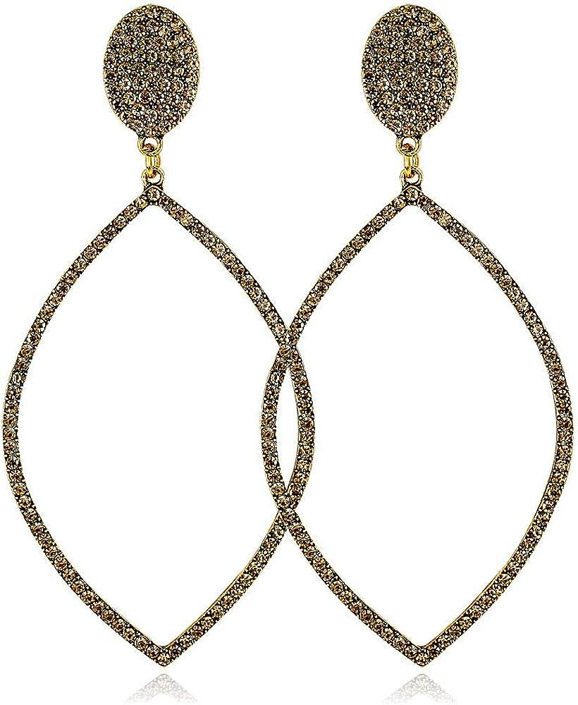 BJINUIY Pendientes Personalidad, Pendientes Personalizados Grandes Diamantes Redondos, Pendientes Clásicos Salvajes Oro Antiguo