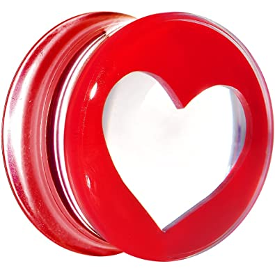 BodyCandy 20mm Transparente Rojo Acrílico Adorando Corazón ...