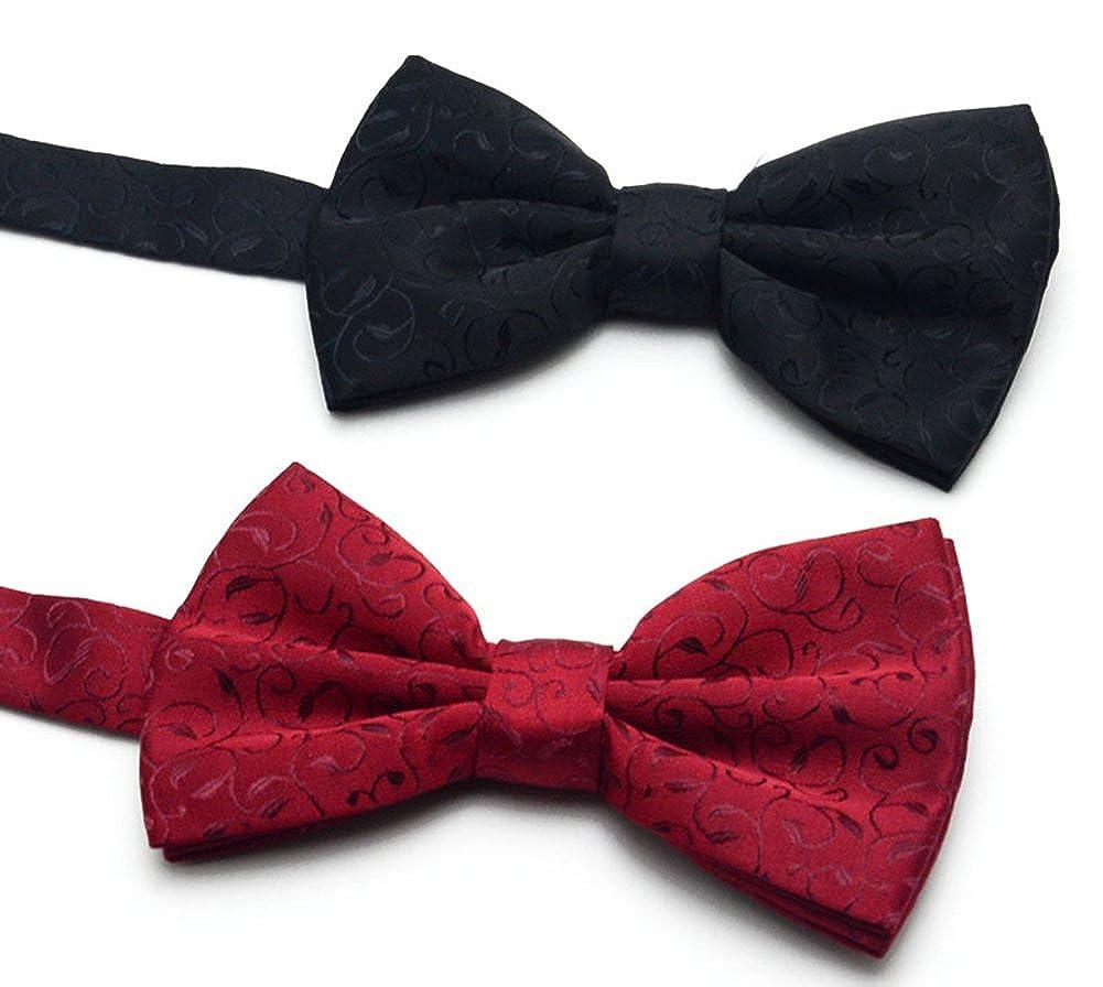 Secdtie Mens Paisley Jacquard Wedding Pre-tied Silk Bow Tie Pocket Square Set
