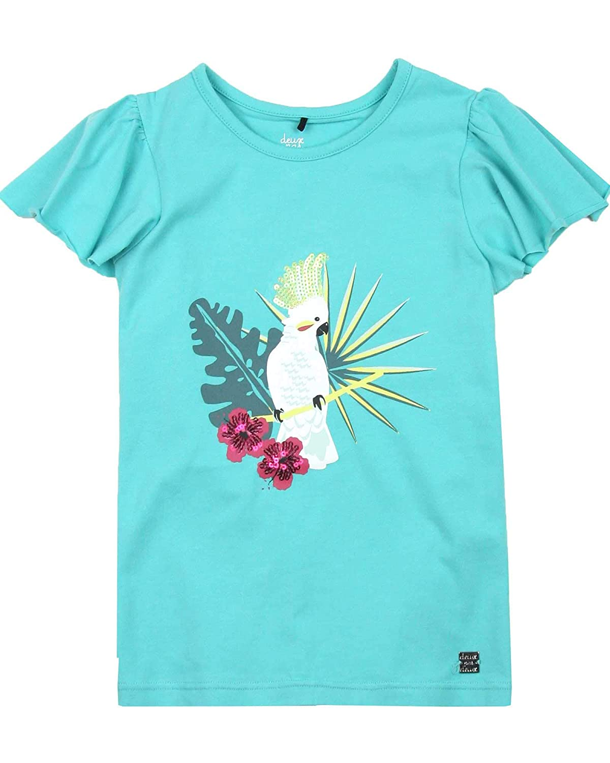 Sizes 4-12 Deux par Deux Girls Green T-Shirt with Flounced Sleeves The Cockatoo Edit