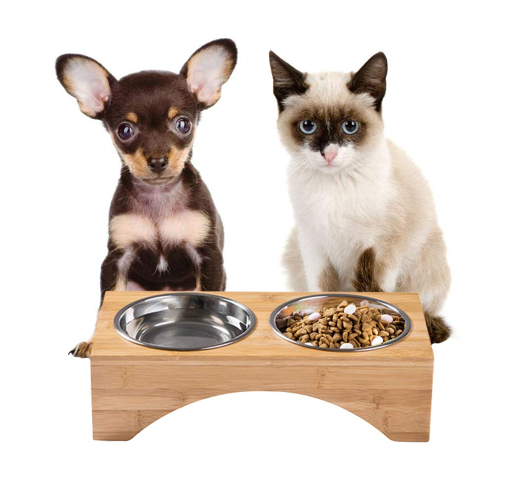 PELYN Elevated Dog Bowls Cat Bowls with Bamboo Stand Double Stainless Steel Bowls for Cats and Small Dogs by PELYN