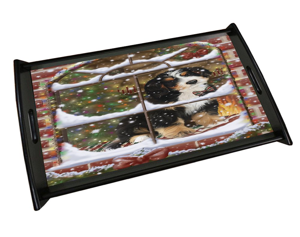 Please Come Home For Christmas Bernedoodle Sitting In Window Black Wood Serving Tray