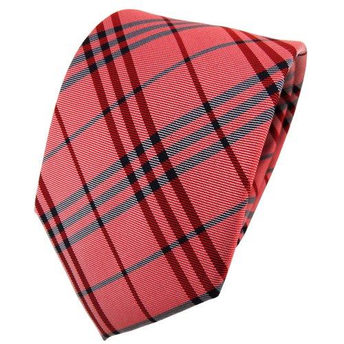 TigerTie cravate en soie rouge argent noir à carreaux - cravate en soie