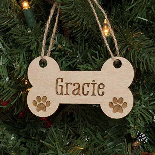 Personalized Pet Christmas Ornament Engraved Wood - Dog Bone & Paw Prints