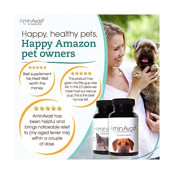AminAvast Kidney Support Supplement for Cats and Dogs, 300mg - Promotes and Supports Natural Kidney Function - Supports Health and Vitality - Easily Administered - 60 Sprinkle Capsules 5