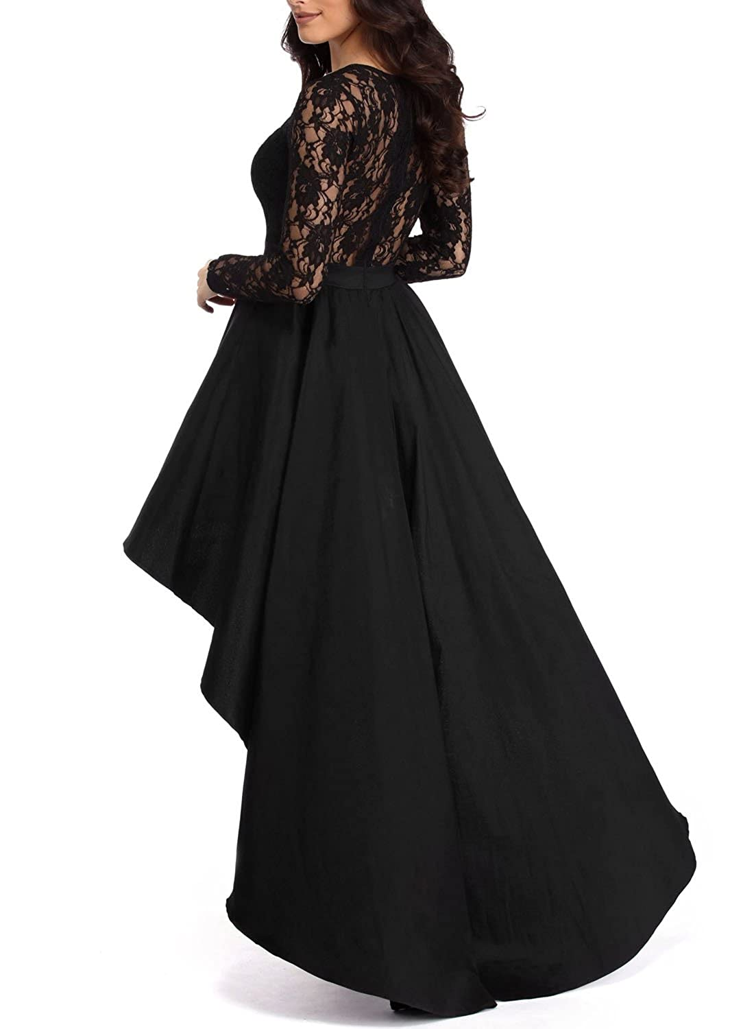 7ffc36ca00f Elapsy Womens Long Sleeve Lace High Low Satin Prom Evening Dress Cocktail  Party Gowns at Amazon Women s Clothing store