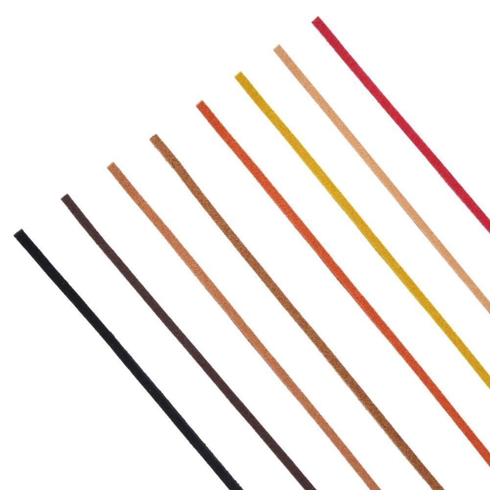VGOODALL 8 Stücke 3 mm x 5 m Lederband, Wildleder Schnur Faden für Armband Halskette Perlen Schmuck DIY Handgefertigte Handwerk, 8 Farben