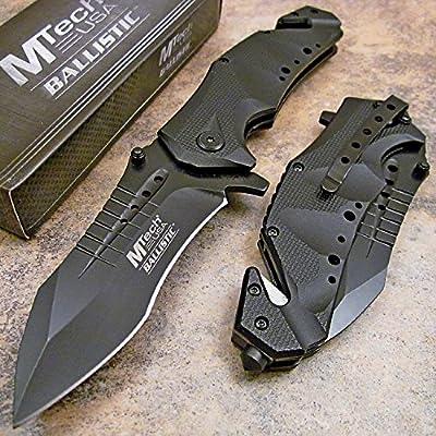 MTech USA Ballistic MT-A845 Series Spring Assist Folding Knife, Black Blade, 5-Inch Closed from MTECH USA
