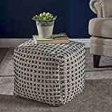 Fender Grey Fabric Square Pouf Ottoman For Sale