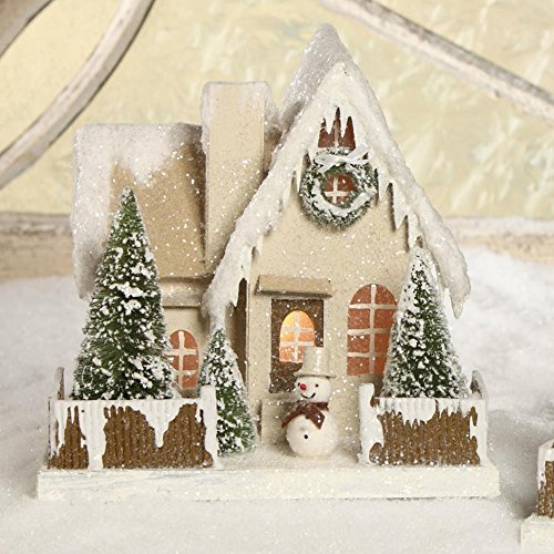 "Bethany Lowe 10"" Woodland Cottage with Snowman, Christmas Mantel House"