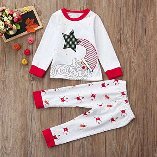 WARMSHOP Newborn Baby Boys Girls Long Sleeve Santa Claus Print O-neck Tops+Pants For Christmas Home Outfits Pajamas Set