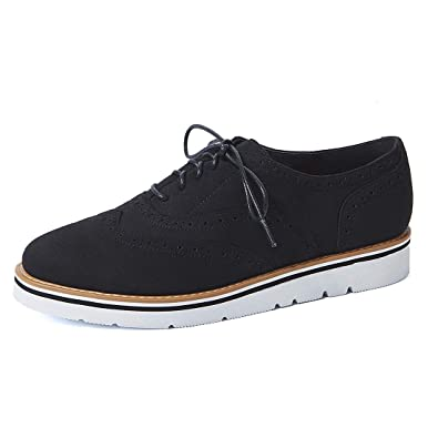 383f121ade VANDIMI Women Fashion Platform Lace Up Loafers Oxford Ankle Flat Suedes  Shoes Casual Wingtip Brogue Sneakers