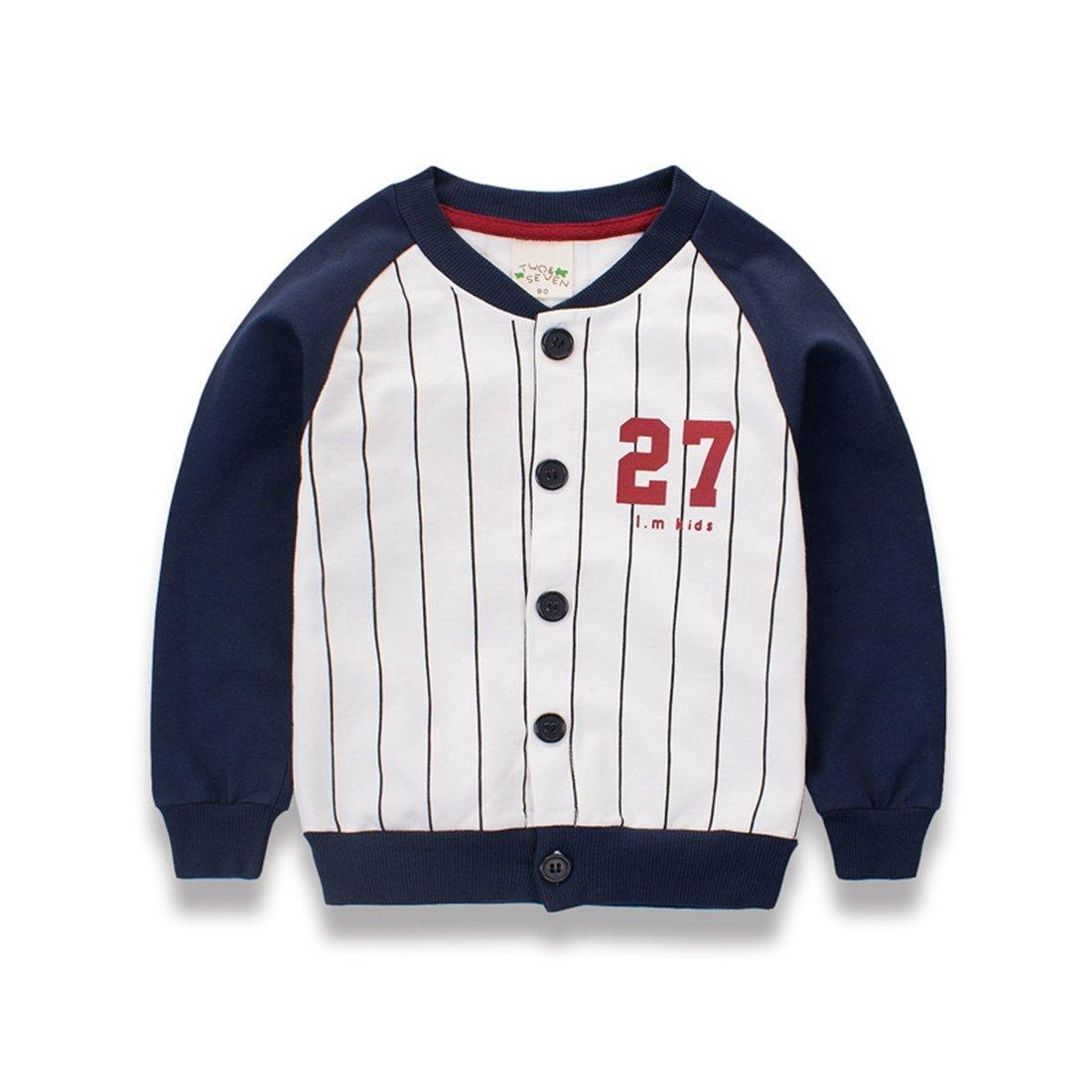 LL STUDIO Kids' Stylishly Dark Blue Striped Button Front Jackets Coat,Age 1.5-9