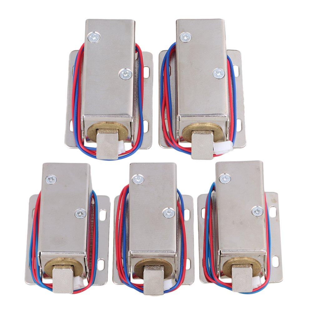 Mxfans 5pcs 12V Cabinet Door Electric Lock Assembly Solenoid Lock Tongue Upward Silver
