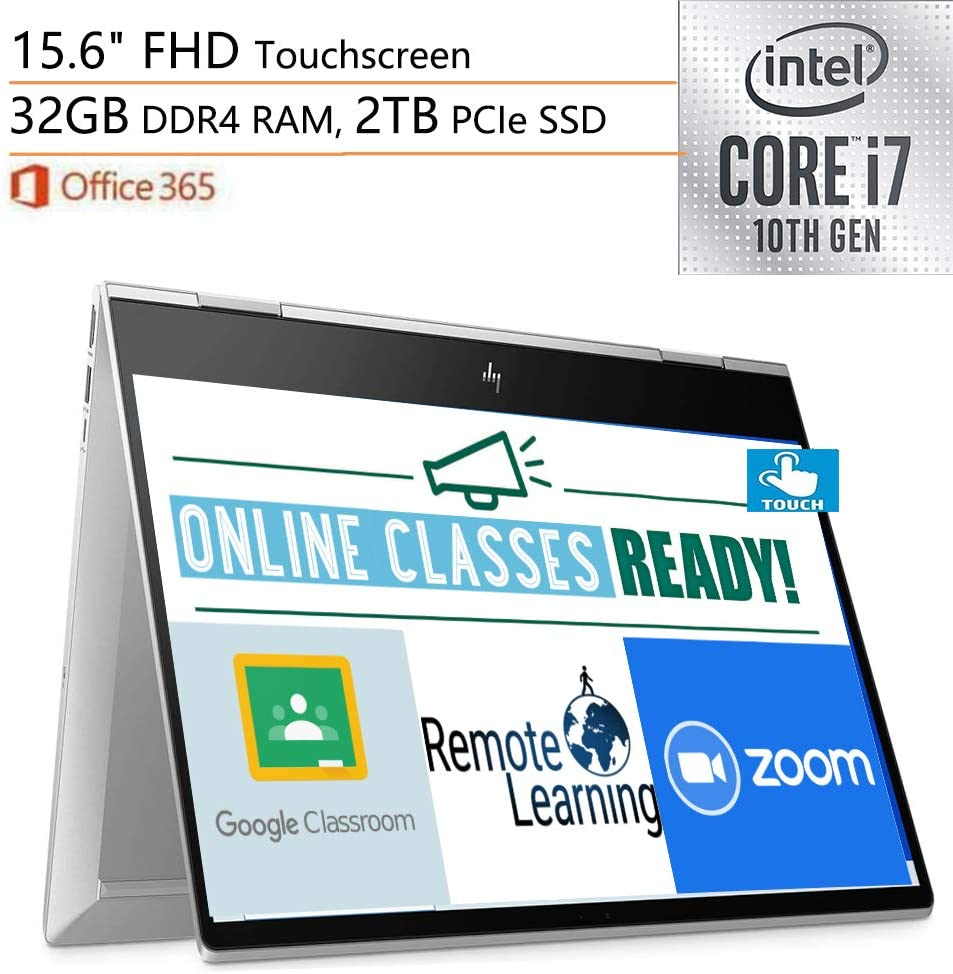 "2020 HP Envy x360 2-in-1 Laptop Computer, 15.6"" FHD Touchscreen, 10th Gen Intel Quard-Core i7-10510U, 32GB DDR4, 2TB PCIe SSD, WiFi 6, Windows 10, Online Class Ready, iPuzzle External DVD Drive"
