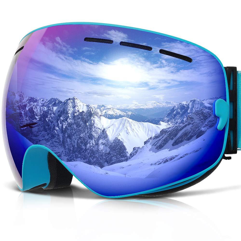 COPOZZ Ski Goggles, G1 Mens Womens Ski Snowboard Snowboarding Goggles - Over Glasses Double Lens Anti Fog Frameless,Cool REVO Mirror Blue for Men Women Youth Snowmobile Skiing by COPOZZ