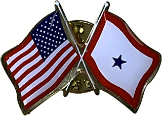 product image for Gettysburg Flag Works Blue Service Star & U.S. Crossed Flags Double Waving Lapel Pin - Proudly Made in The USA